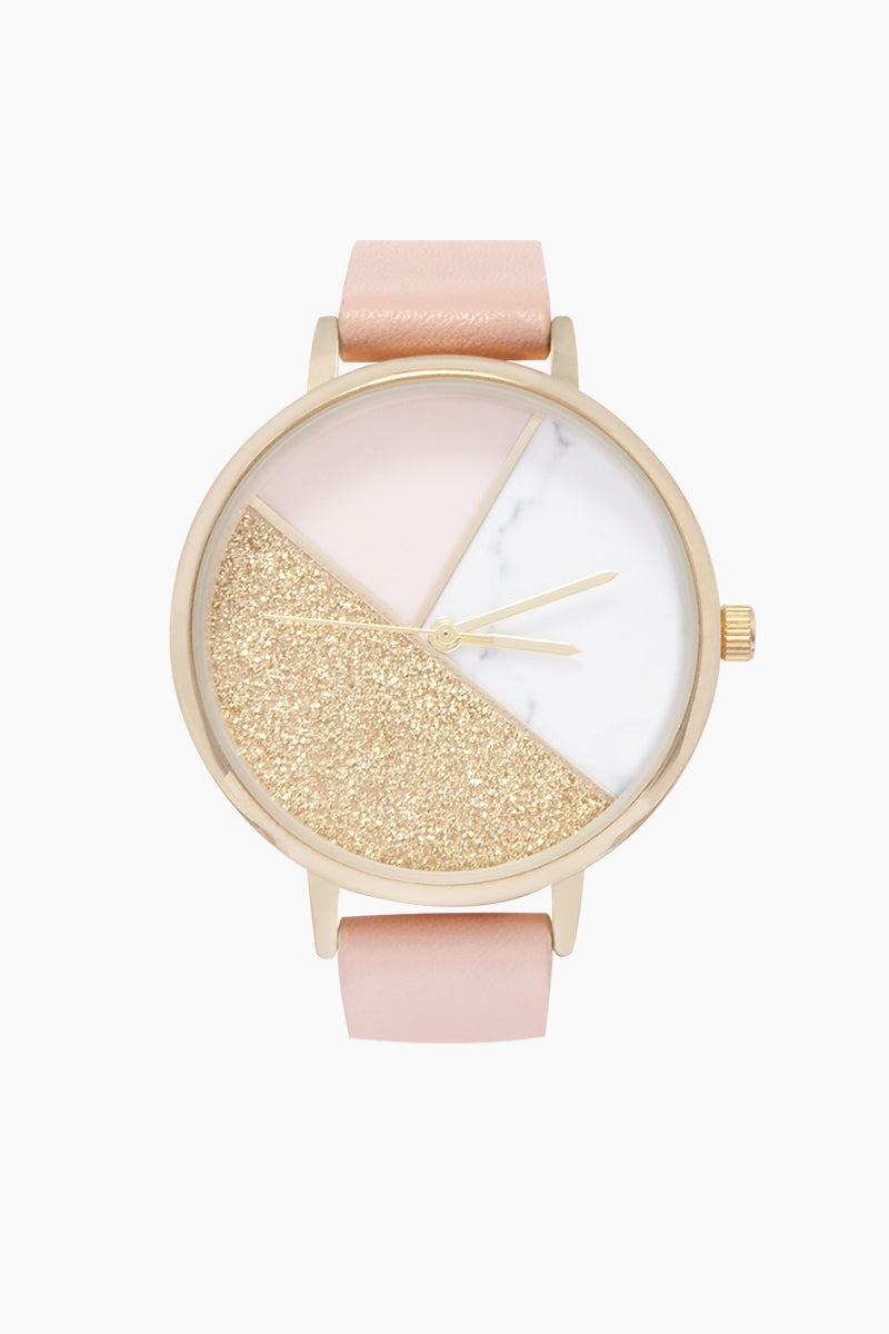Round Marble Watch W/ Faux Leather Strap - Pink/Marble