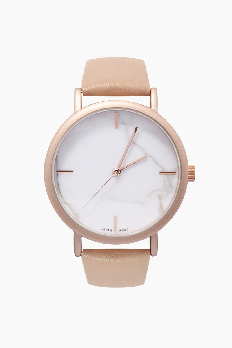 Blake Marble Watch W/ Faux Leather Strap - Pink/White