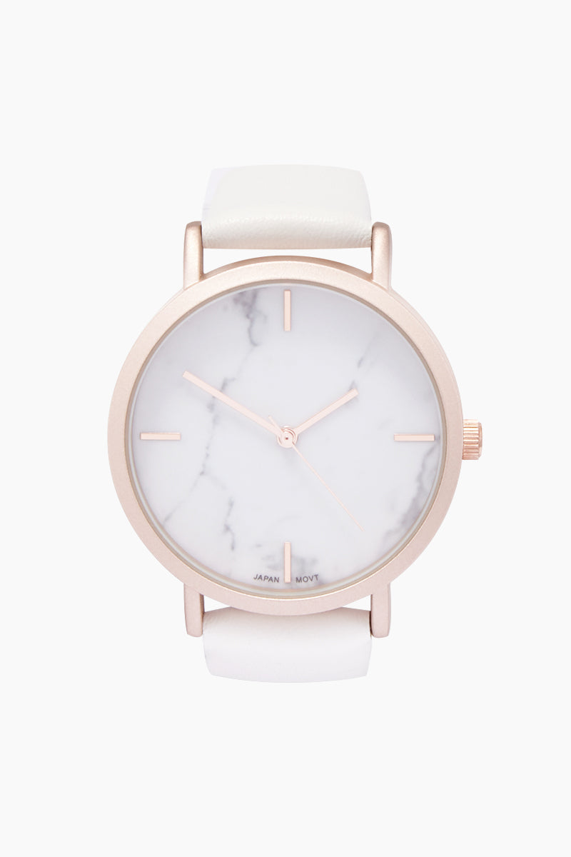 Blake Marble Watch W/ Faux Leather Strap - White/Marble
