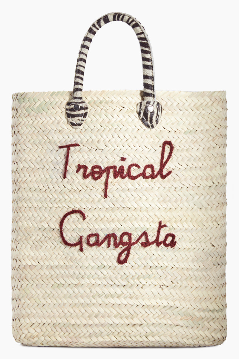 Large Rectangular Straw Tote - Tropical Gangsta