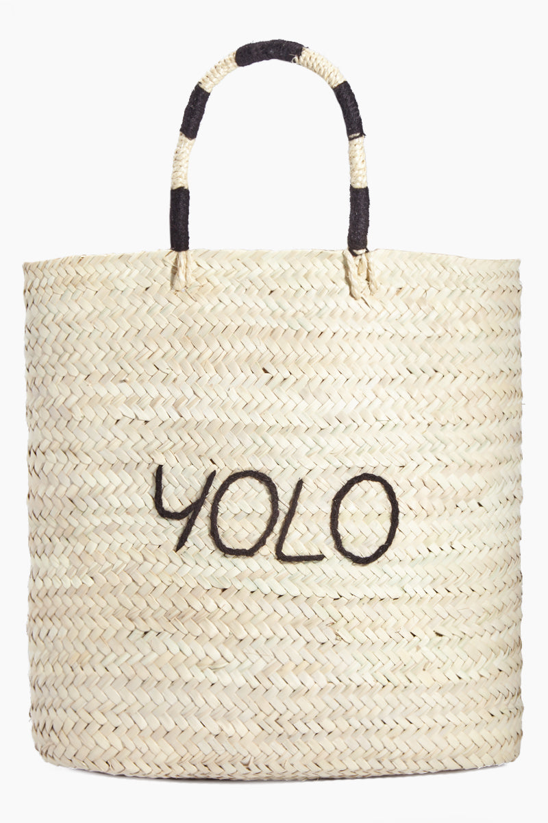 Large Rectangular Straw Tote - YOLO