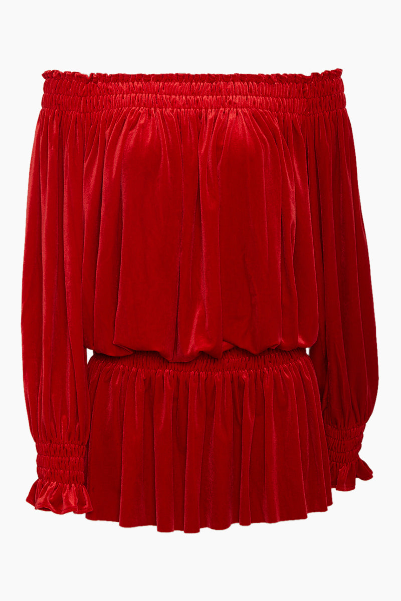 Peasant Velvet Off Shoulder Mini Dress - Tango Red
