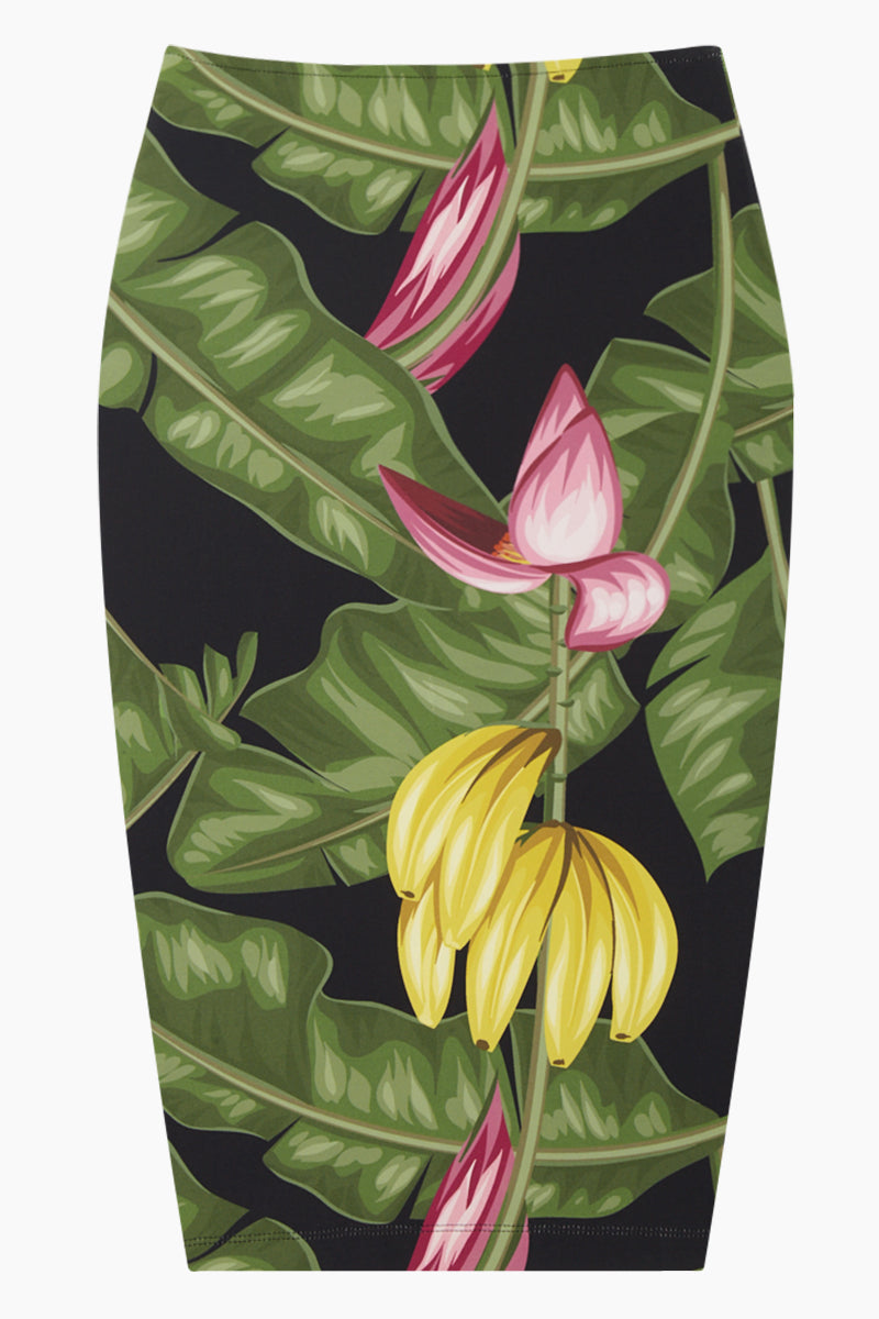High Waist Pencil Skirt - Bananeira Tropical Print