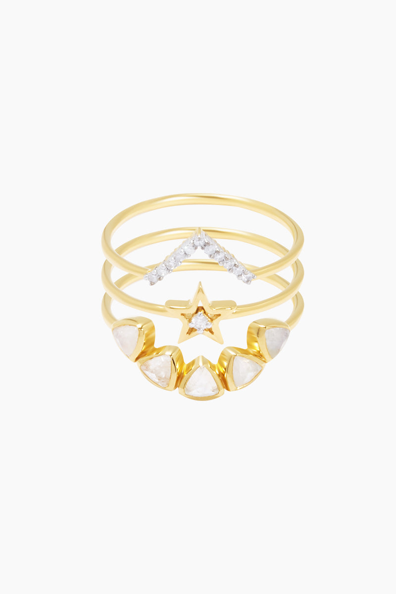 14K Gold Vermeil Big Bang Diamond & Moonstone Set of 3 Stacking Rings