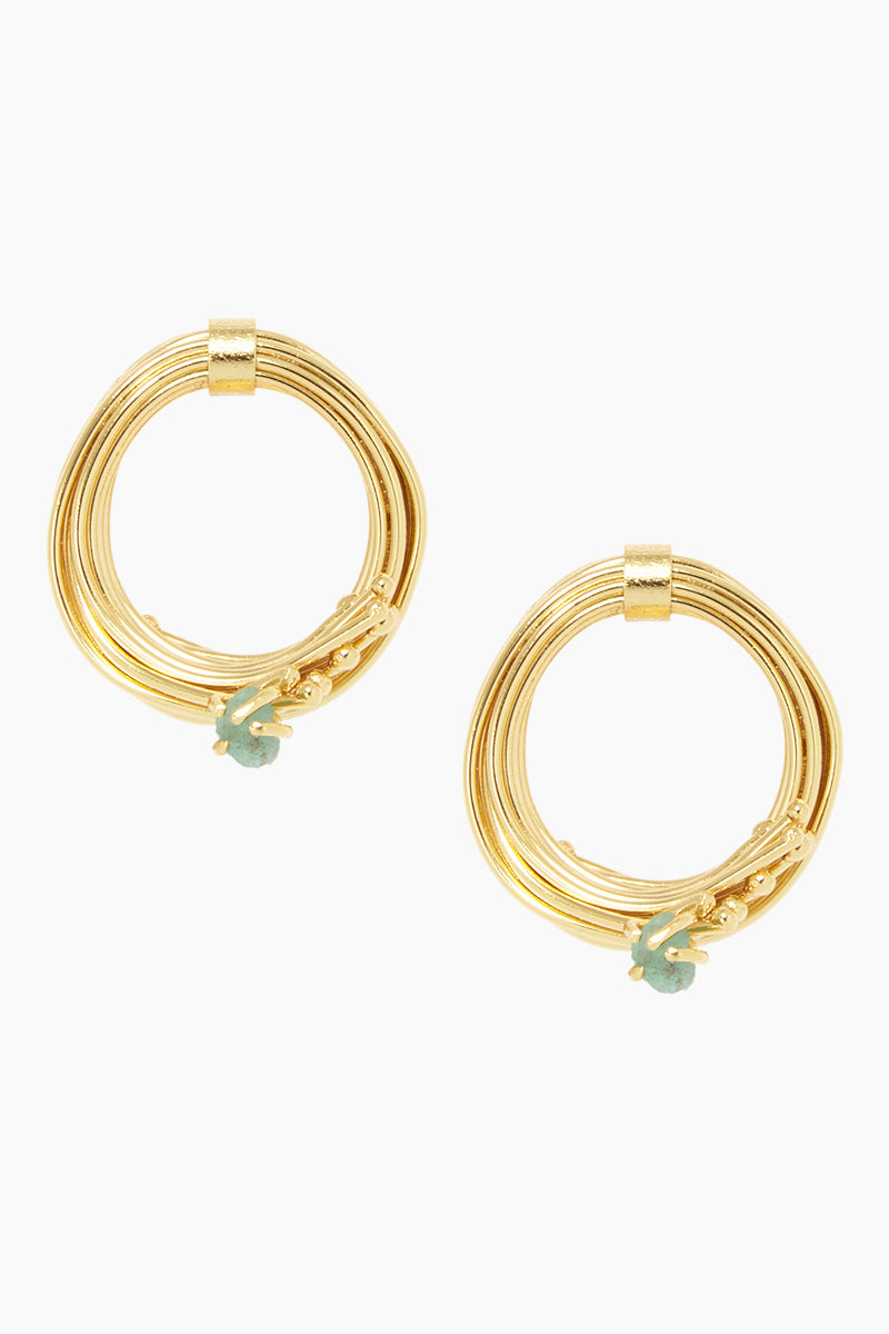 Emerald Mid Geo Hoops - Gold