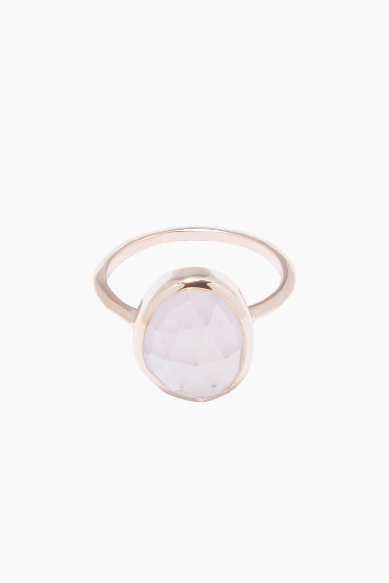 14K Rose Gold Vermeil Rose Quartz Stone Ring