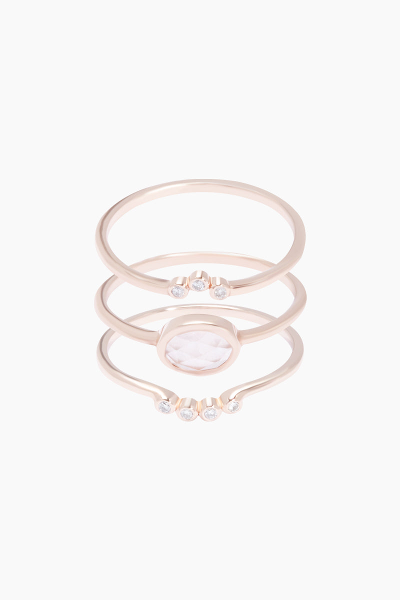 14K Rose Gold Vermeil Cloud 9 Diamond & Rose Quartz Set of 3 Stacking Rings