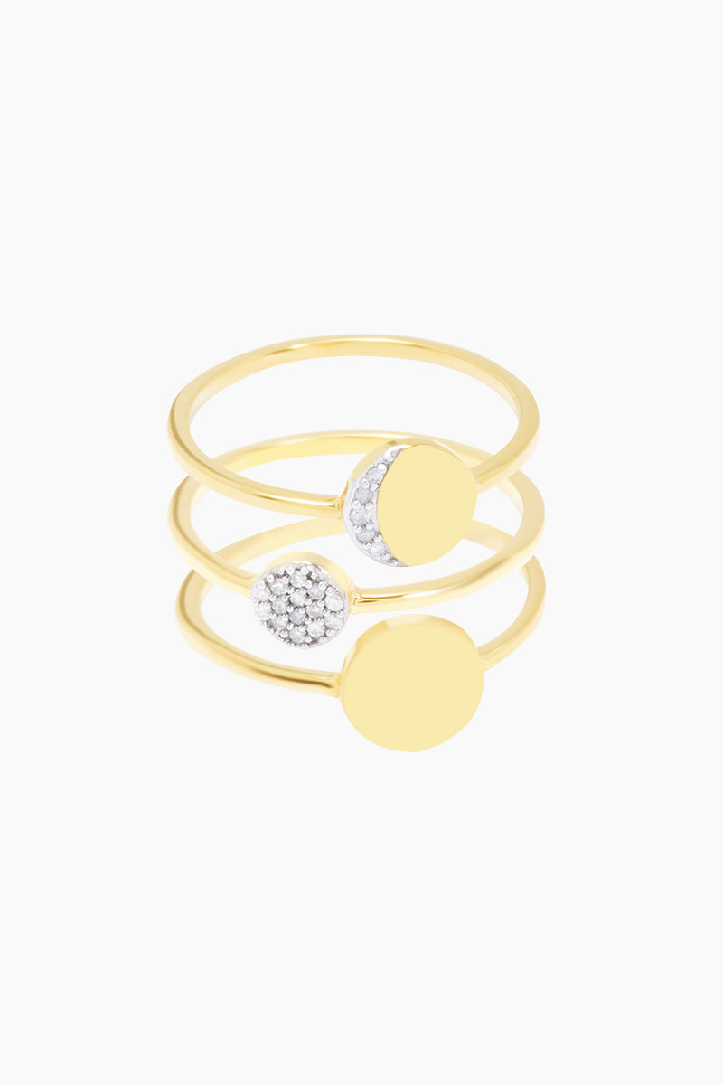 14K Gold Vermeil Diamond Moon Phases Set of 3 Stacking Rings