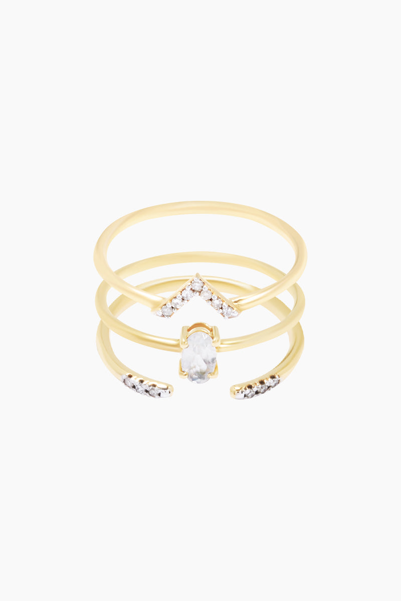 14K Gold Vermeil Diamond & Moonstone Set of 3 Stacking Rings