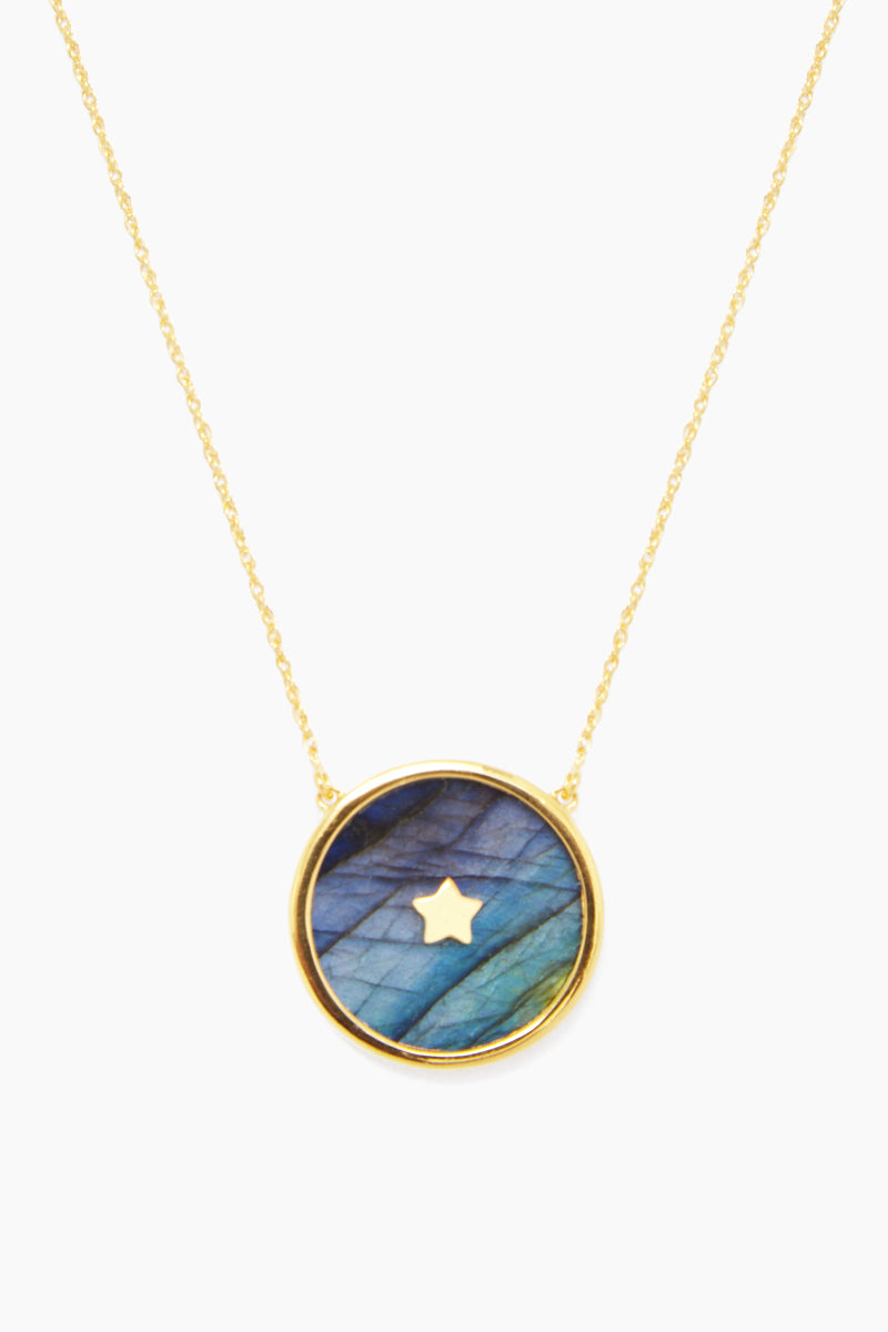 14K Gold Vermeil Night Sky Pendant - Gold/ Labradorite