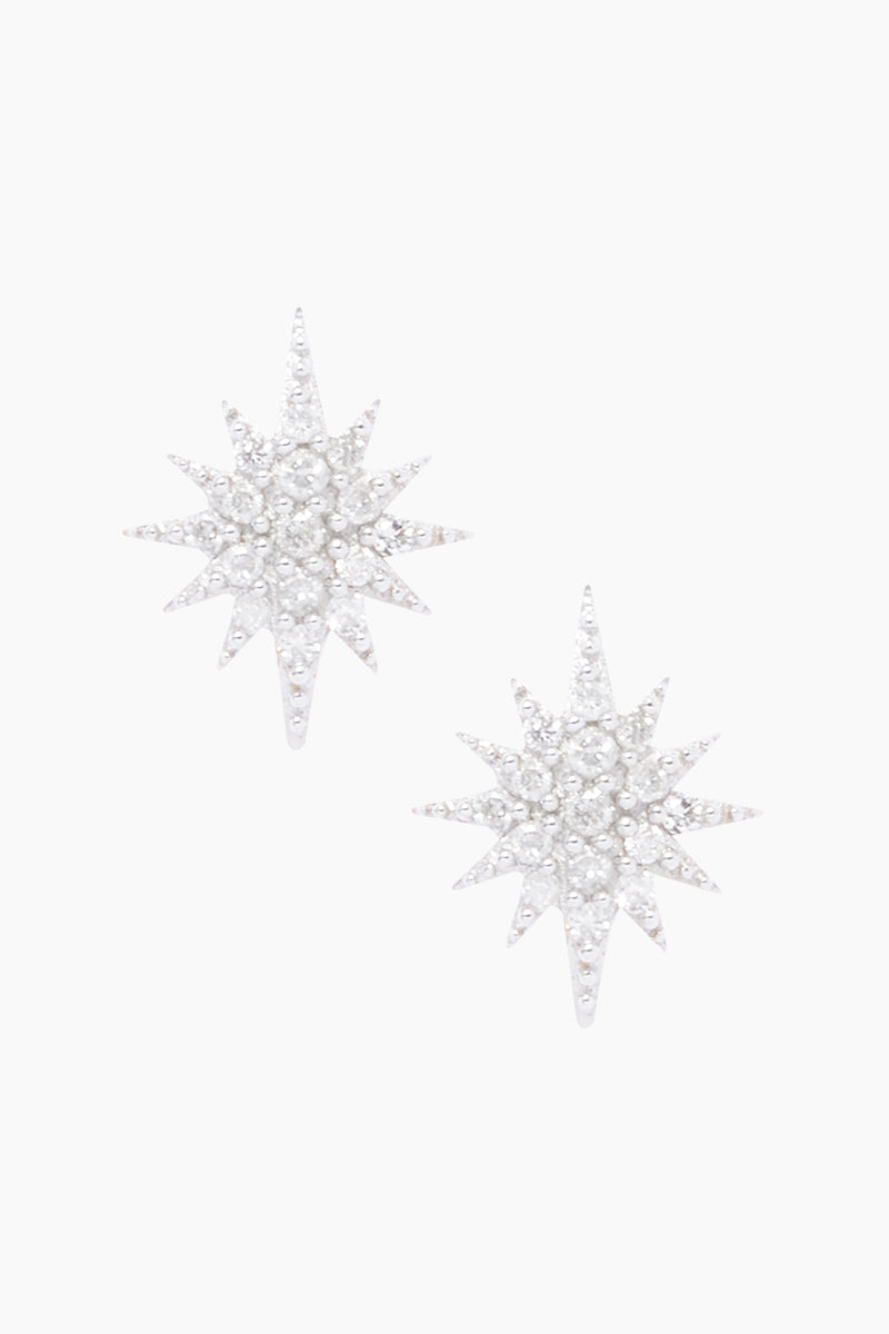 14K Gold Vermeil Diamond Starburst Stud Earrings