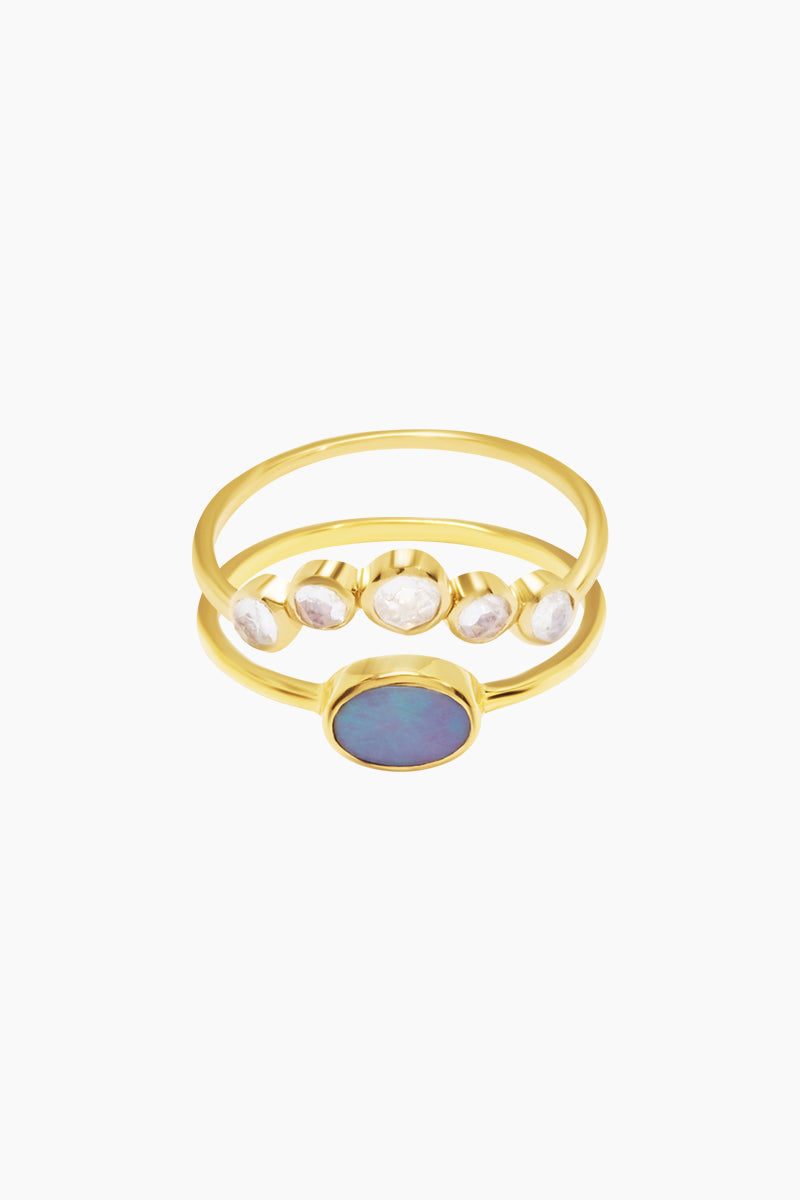 14K Gold Vermeil Galactic Opal & Moonstone Set Of 2 Stacking Rings
