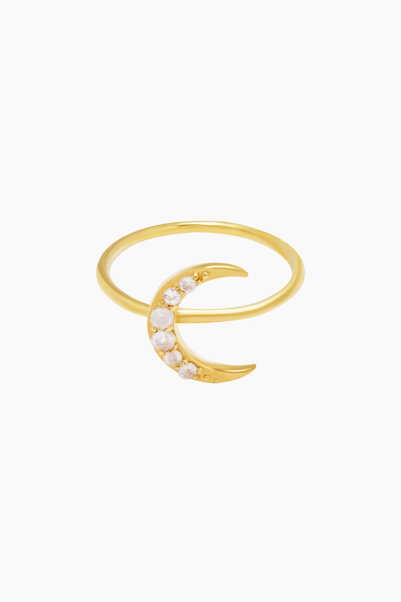 14K Gold Vermeil Moonstone Crescent Moon Ring