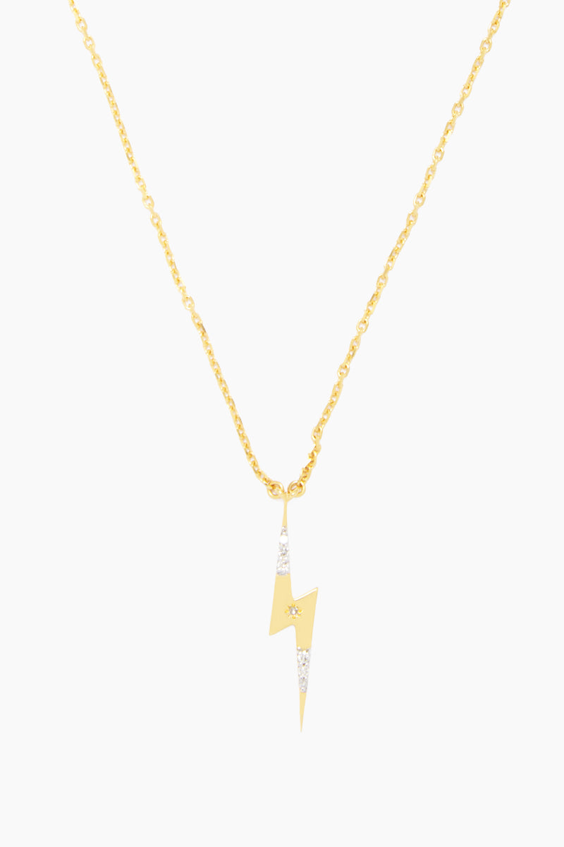 14K Gold Vermeil Diamond Set Lightning Bolt Pendant - Gold/ Diamond