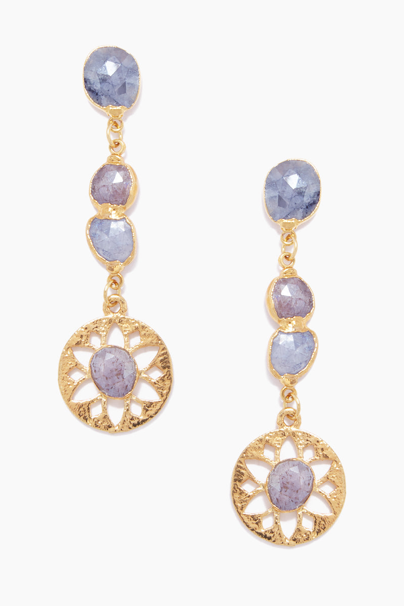 Olympia Dangling Earrings - Blue/Pink