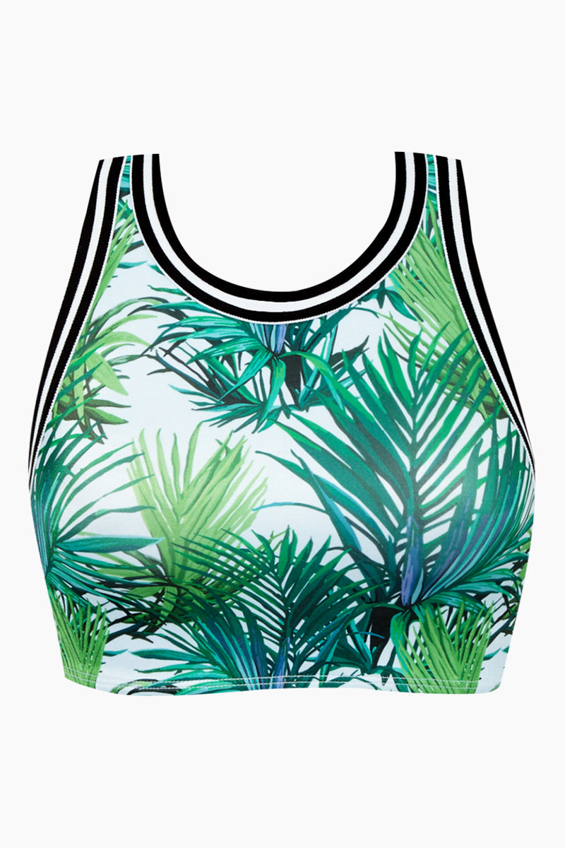 50a6fb43f1a04 MAPALE Sporty High Neck Bikini Top - Palm Vibes Print | BIKINI.COM