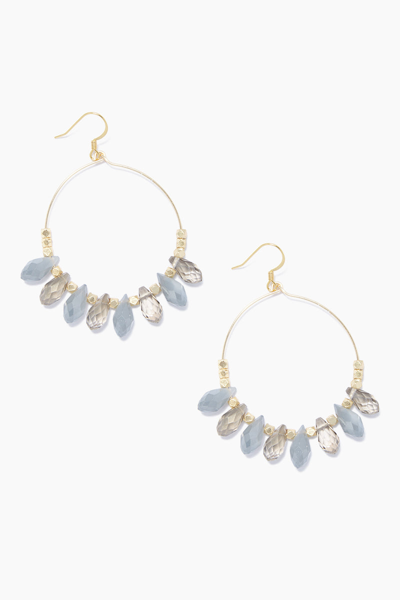 Carson Beaded Hoop Earrings - Gray/Smoke