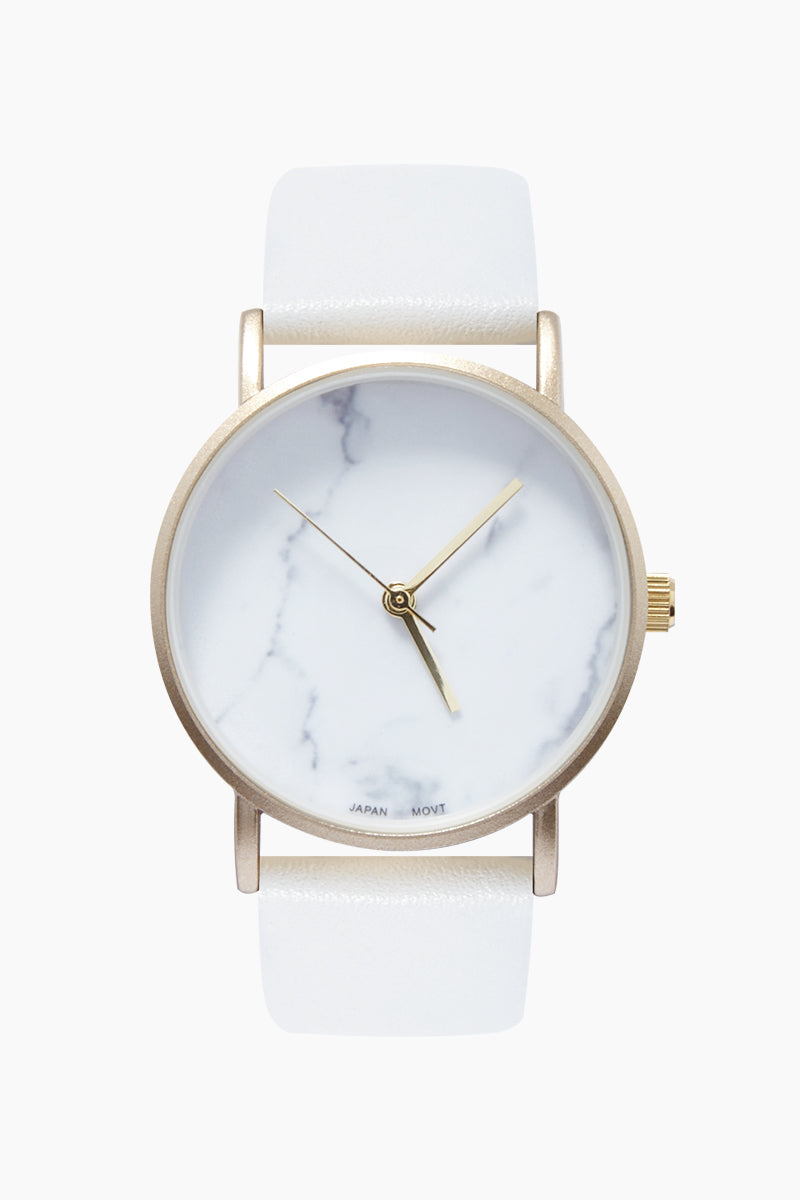 Round Marble Watch W/ Faux Leather Band - White