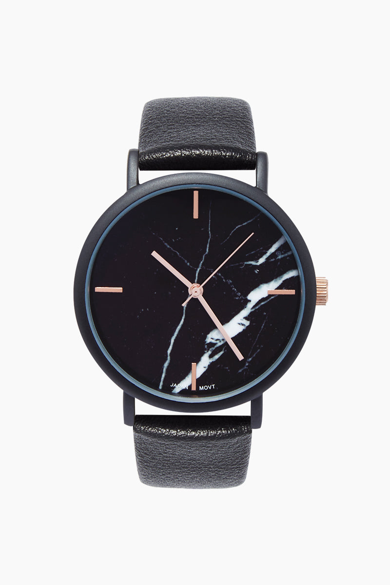 Blake Marble Watch W/ Faux Leather Strap - Black/Marble/Rose Gold