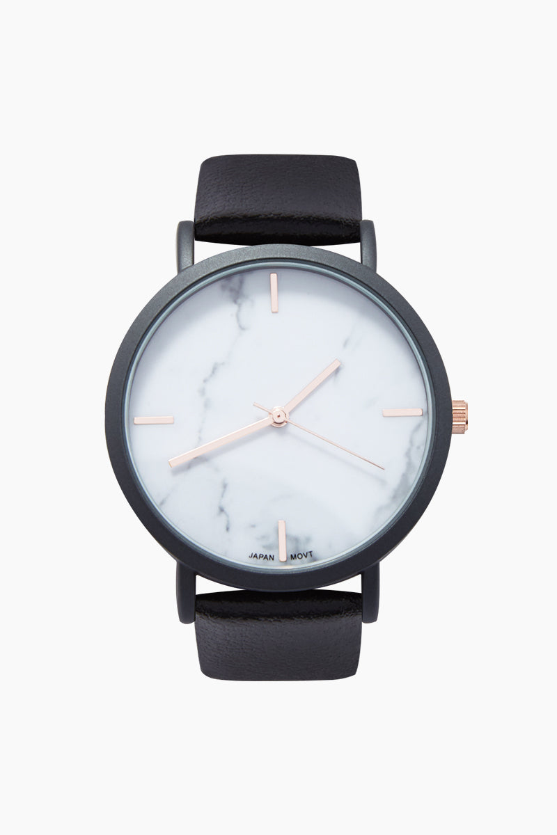 Blake Marble Watch W/ Faux Leather Strap - Black/Marble