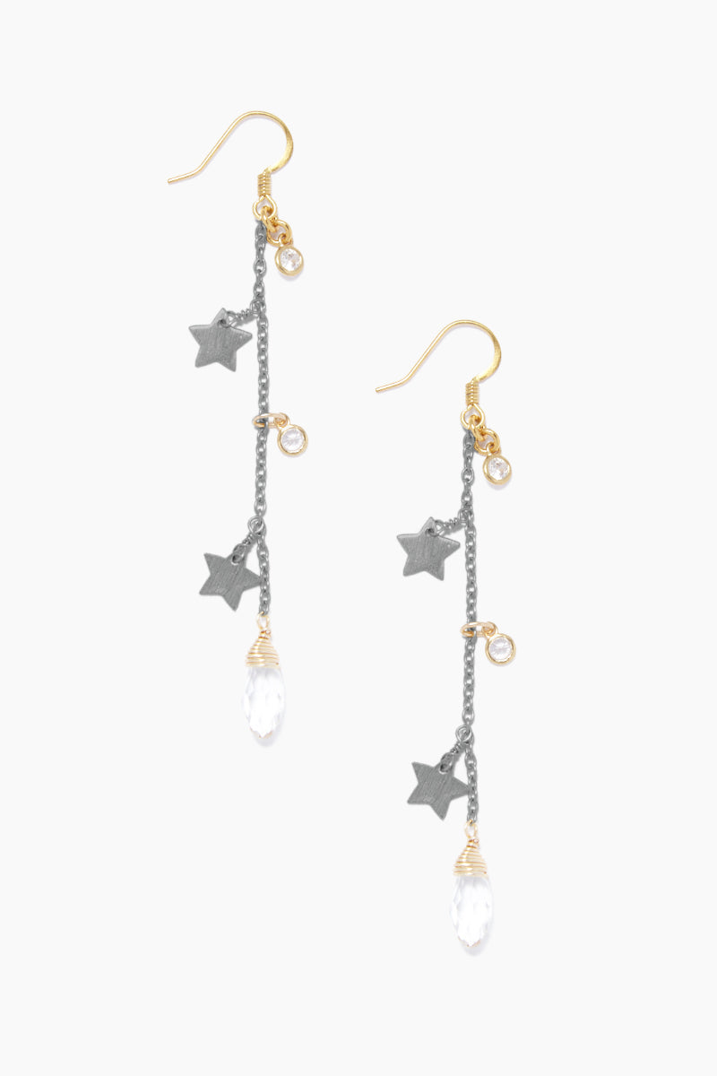 Star Fall Earrings - Gunmetal