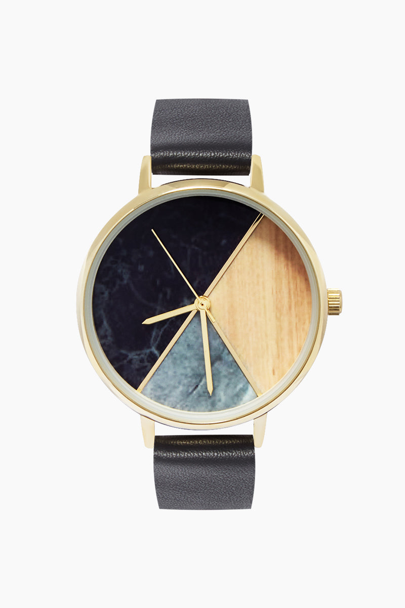 Marble And Wood Watch W/ Faux Leather Strap - Black/Marble