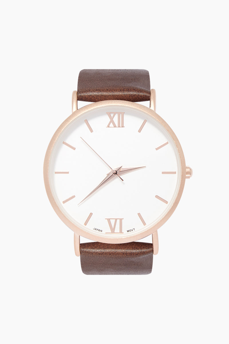 Sarah Round Watch W/ Faux Leather Strap - Brown/White