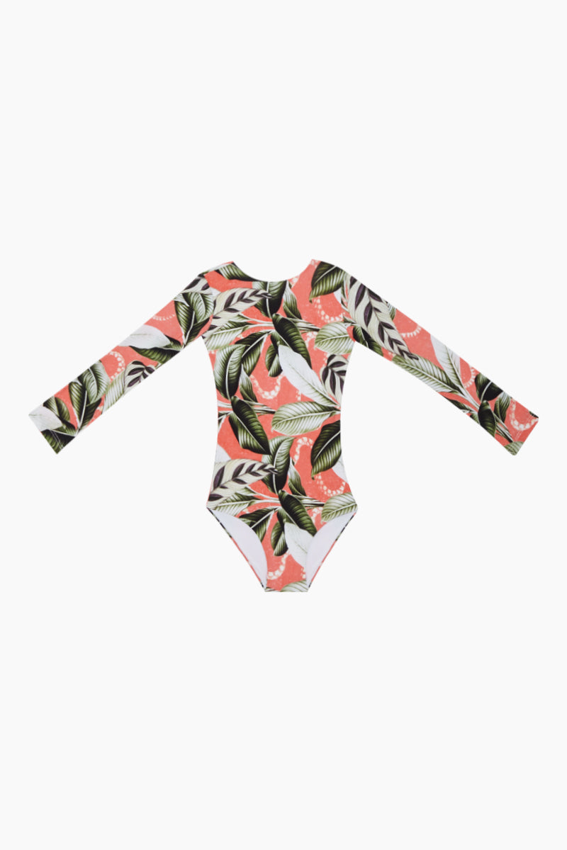 Long Sleeve One Piece Swimsuit (Kids) - Verdant Mangrow Coral Tropical Print
