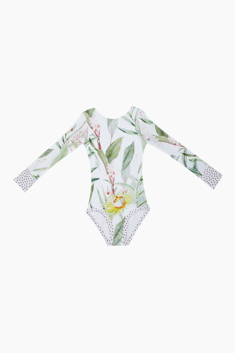 Long Sleeve One Piece Swimsuit (Kids) - Silent White Vegflor Print