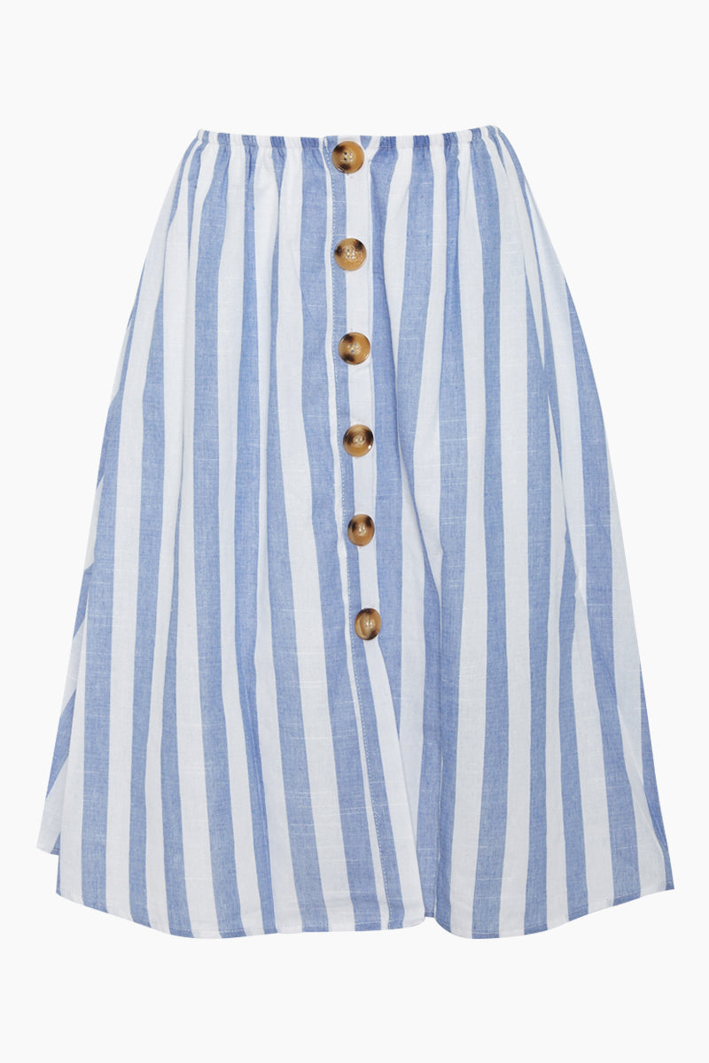 23b63ad0a77c2 REVERSE Flynn Button Front Midi Skirt - Blue White Stripes - undefined  undefined ...