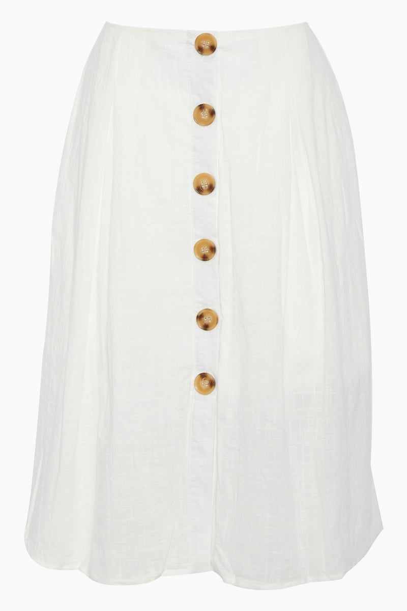 Ryna Button Front Midi Skirt - White