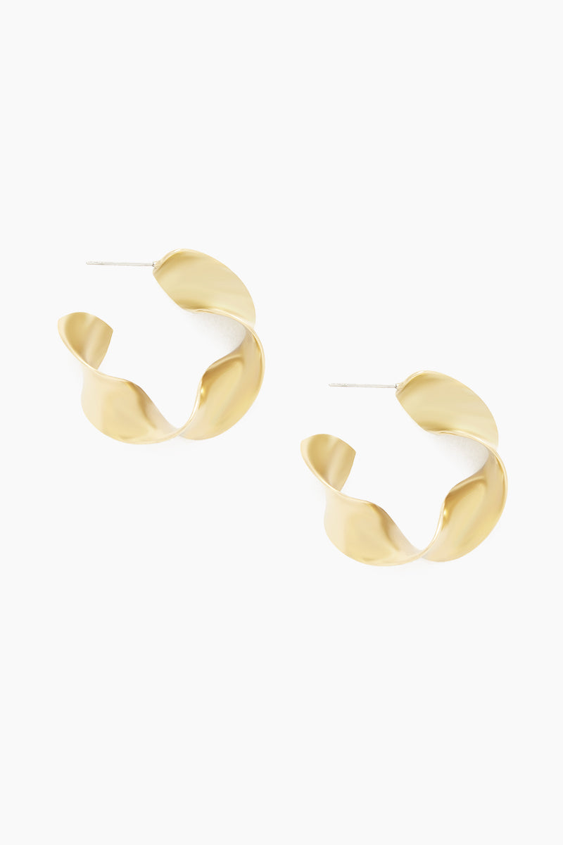 Joy Mini Statement Hoop Earrings - Brass