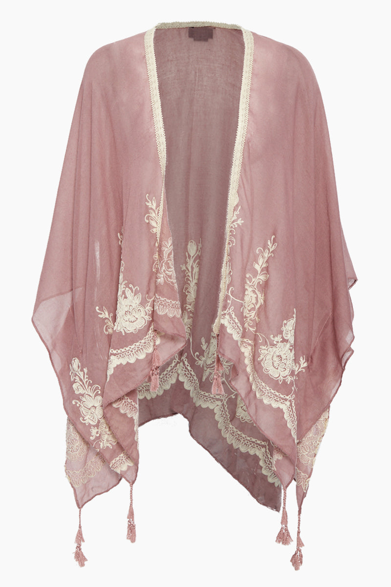 Solid Shawl W/ Floral Embroidery - Dusty Pink