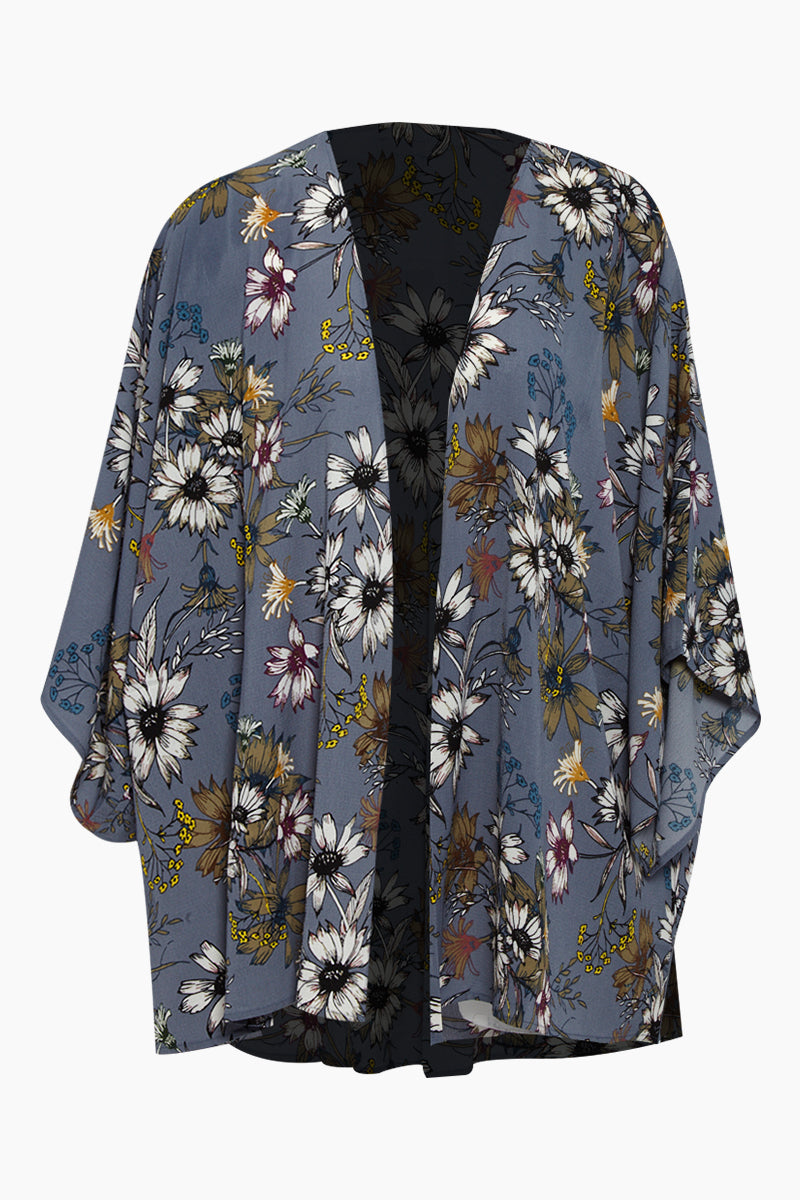 Kimono Cover Up - Blue Floral Print