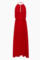 Modest Open-Back Silk Elasticized Waistline High-Neck Maxi Dress With a Bow(s) and a Sash