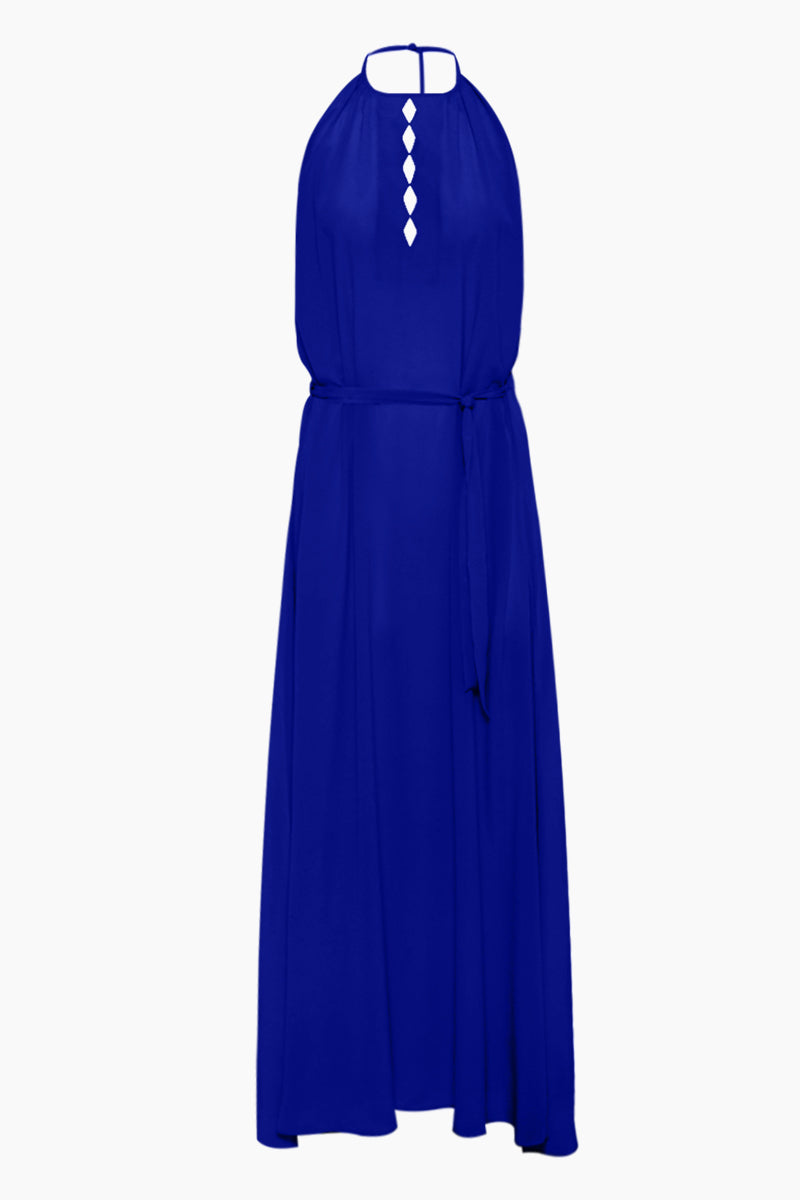 Tulla Diamond Detail Maxi Dress - Blue Silk