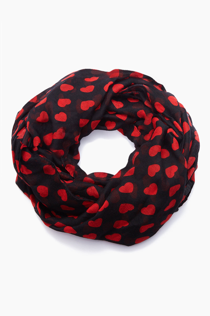 Valentines Day Hearts & Kisses Scarf - Black