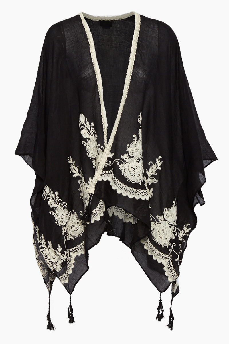Embroidered Tassel Kimono Cover Up - Black & White Floral Print
