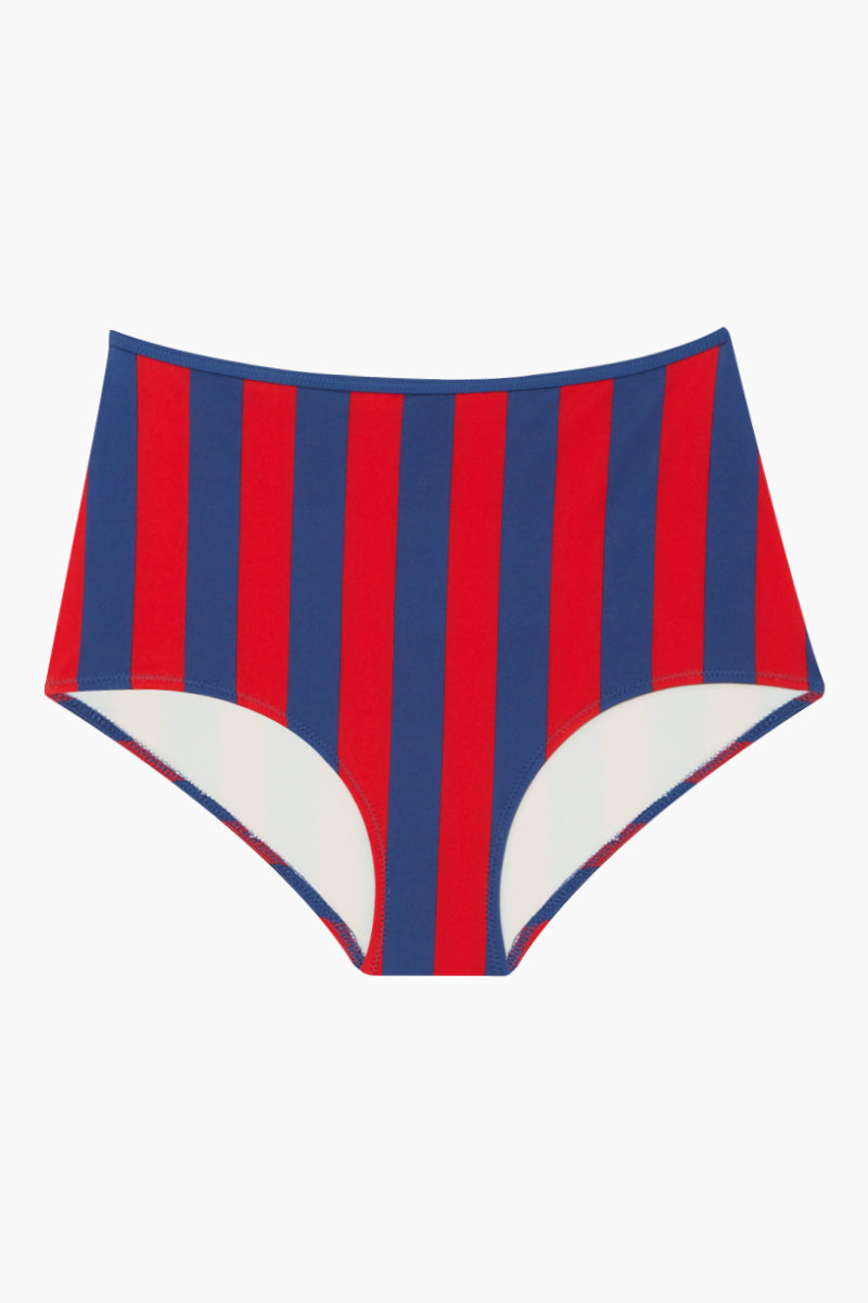The Brigitte High Waisted Bikini Bottom - Red Slate Stripe