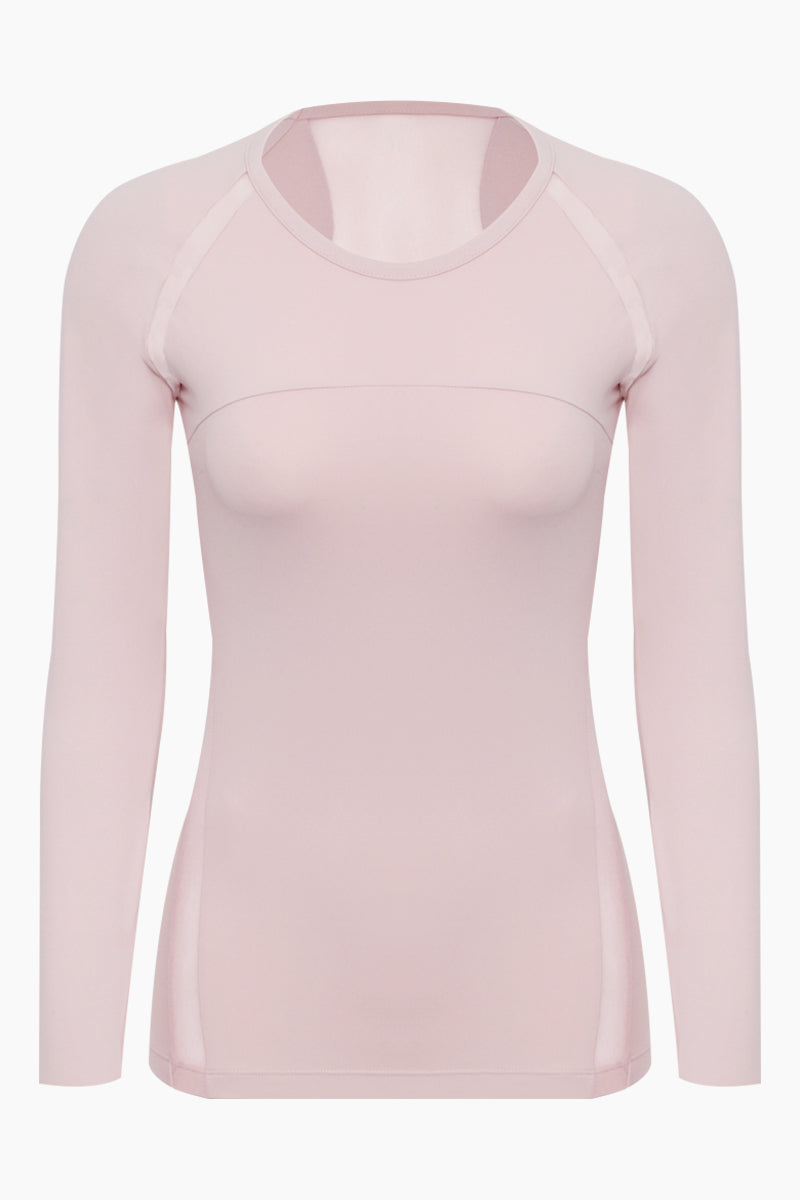 Blake Mesh Long Sleeve Top - Peony Pink