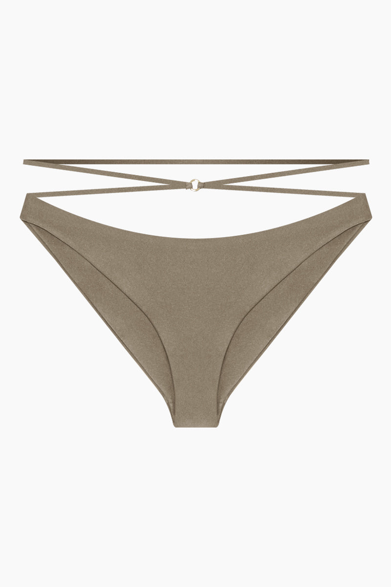 Balance Criss Cross Strappy Hipster Bikini Bottom - Pebble Brown