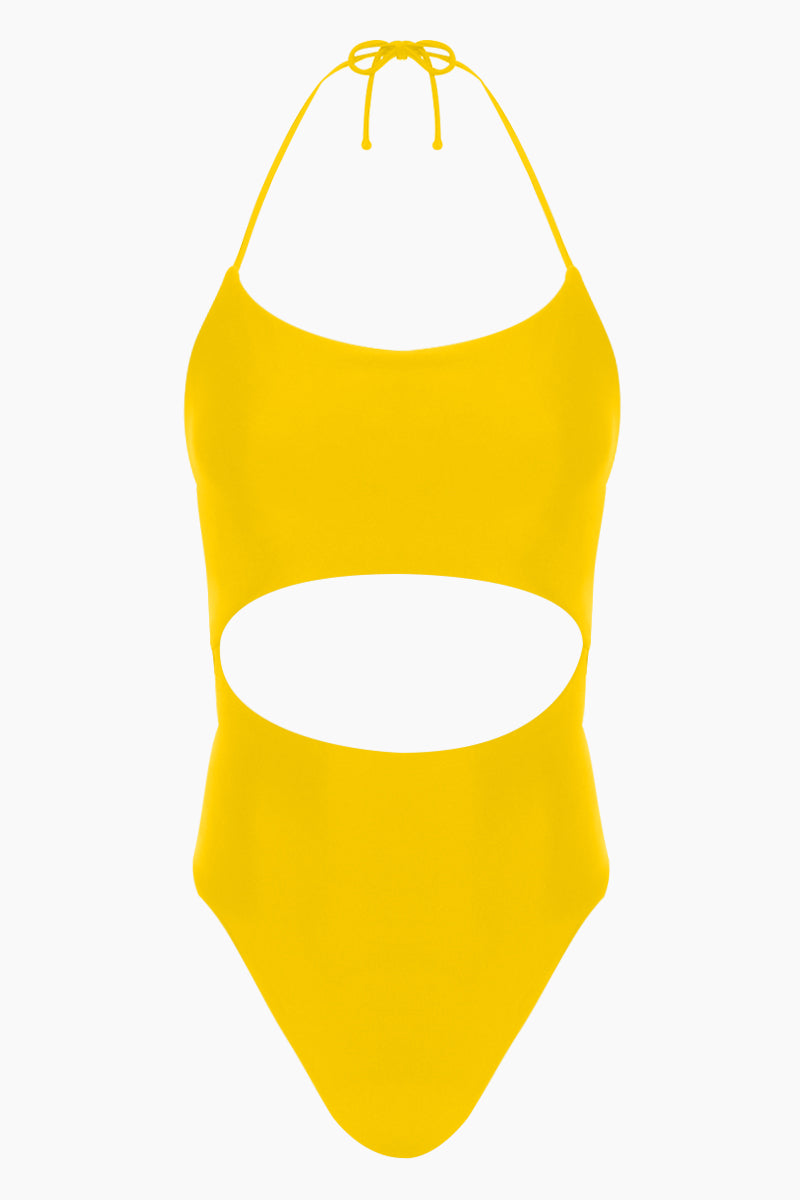 Luna Center Cut-Out One Piece Swimsuit - Marigold Yellow