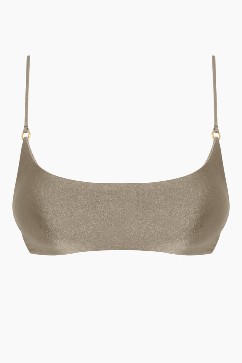 Hinge Bralette Bikini Top - Pebble Brown