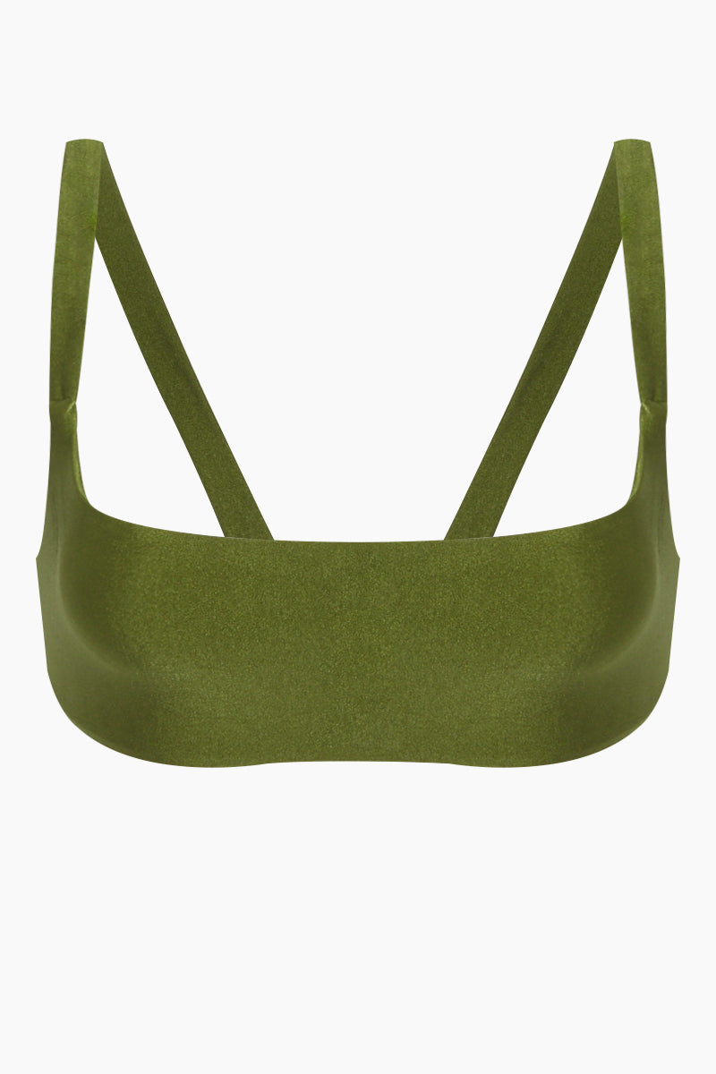 Revel V Back Bralette Bikini Top - Eden Green