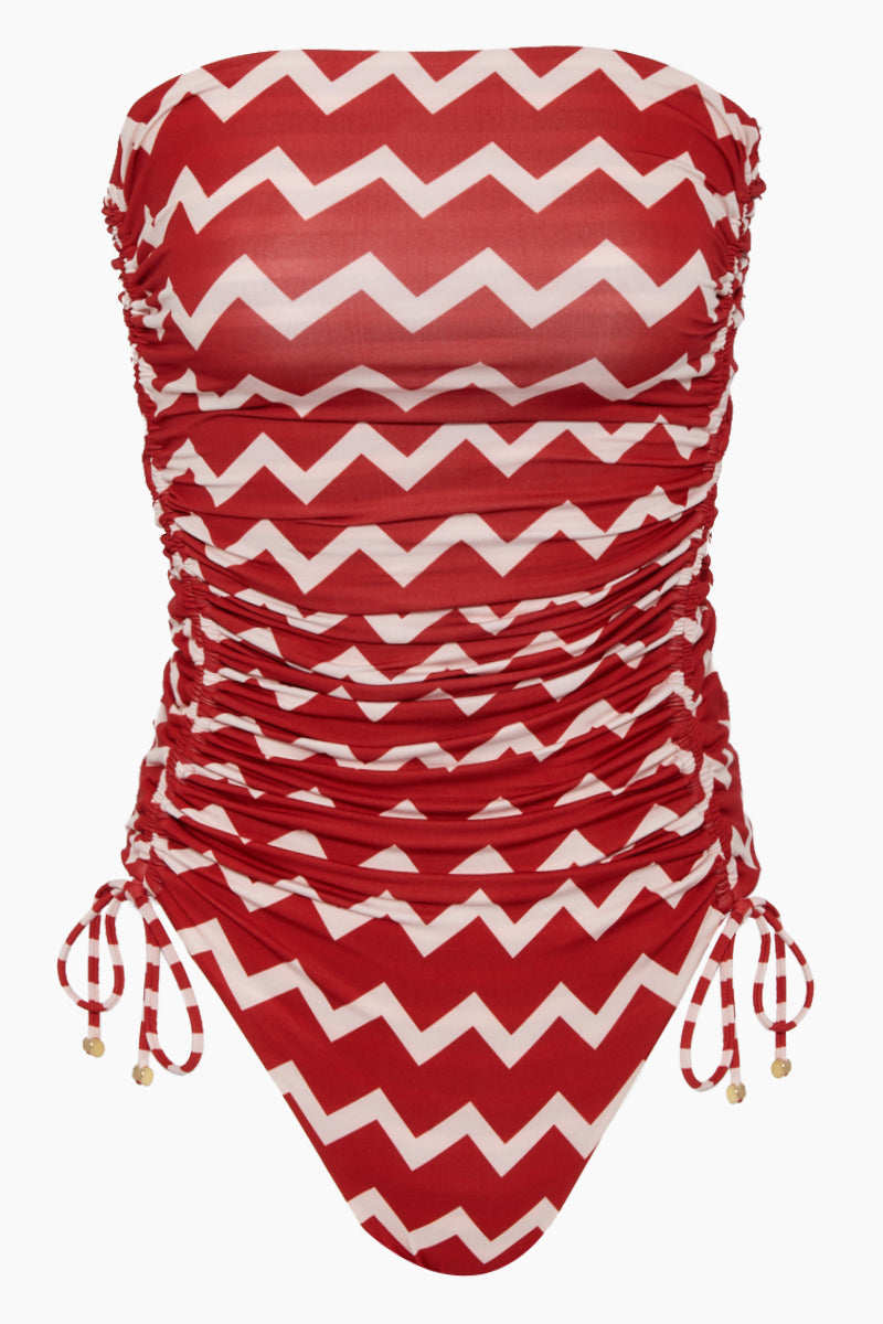 Strapless One Piece Swimsuit - Red/Cream Chevron Print