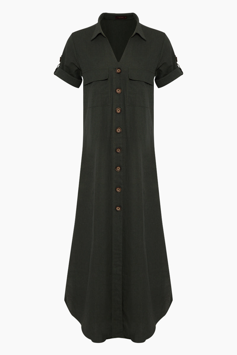 Button Up Collared Maxi Dress - Military Green