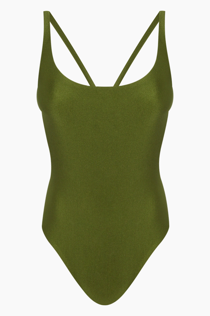 Asterik Scoop Strappy Back One Piece Swimsuit - Eden Green