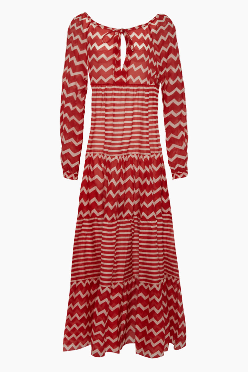 Zig-Zag Off Shoulder Long Sleeve Maxi Dress - Red/White Chevron/Stripe Print