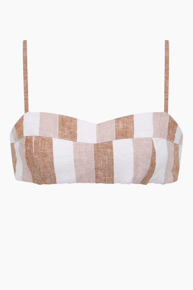 Sweetheart Linen Blend Bikini Top - Porto Rose Stripe Print
