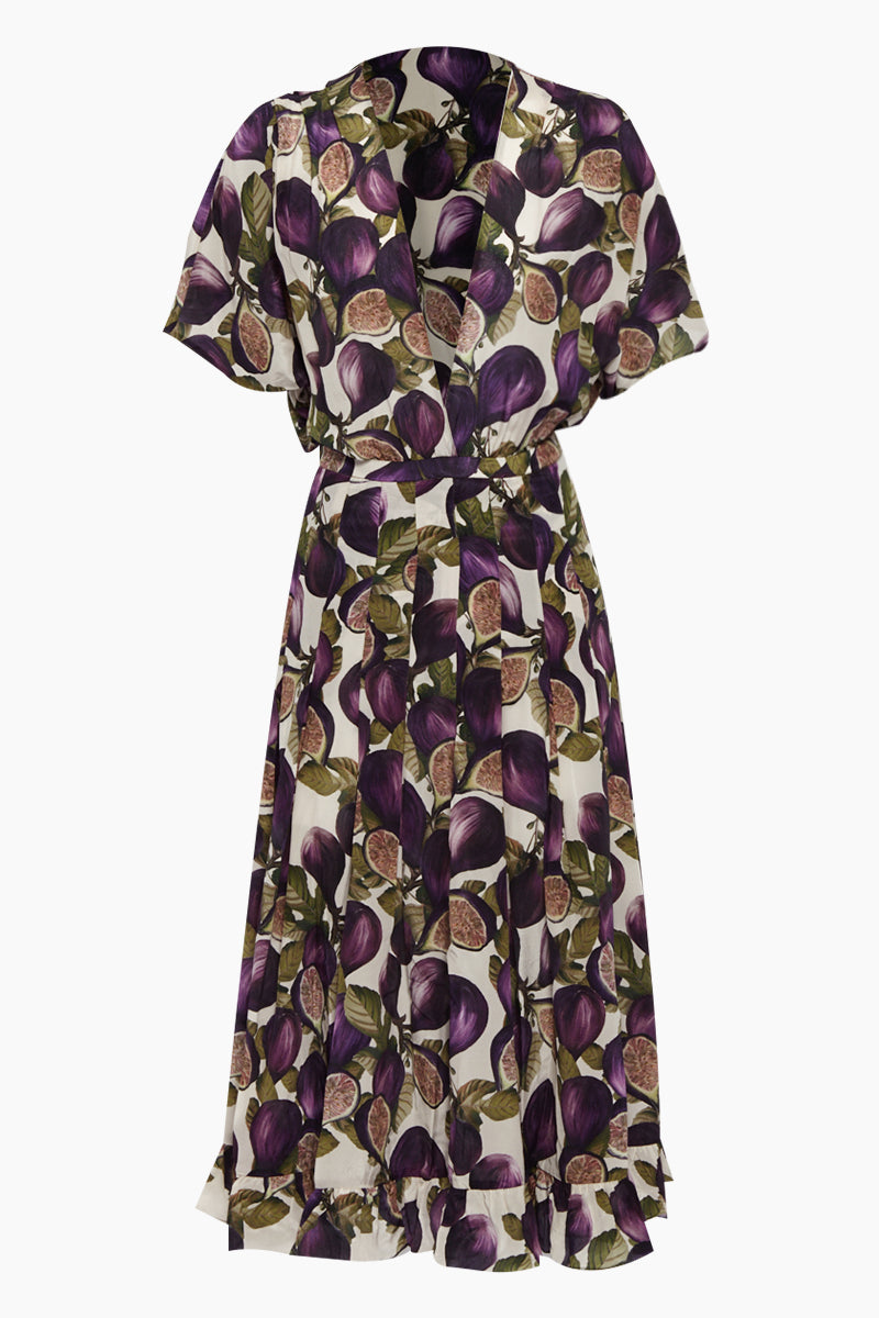 Midi Pleated Dress - Fig Purple Print